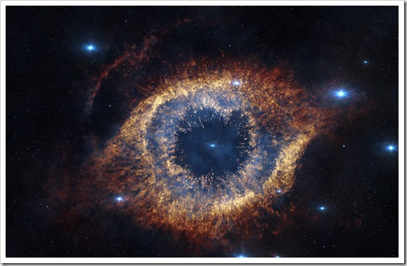 Screenshot from IMAX® 3D movie Hidden Universe showing the Helix Nebula in infrared
